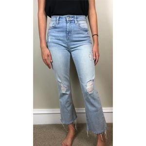 UO BDG Kick Flare High Rise Cropped Raw Hem Jean